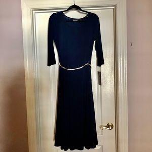 Navy blue Maxi dress with belt
